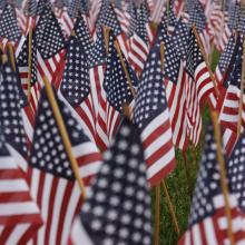 American flags on Boston Common commemorate Massachuestts military heroes