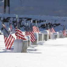 Veterans cemetary the day follow a snow storm.